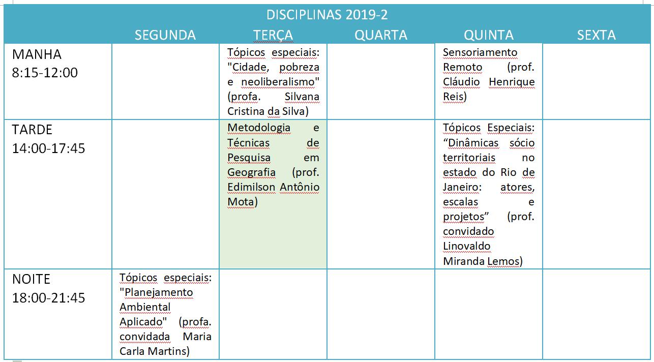 Horário e Matrícula 2019-2 (Novo!)